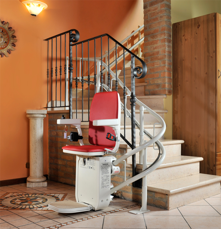Ameriglide curved stair lift hd for Motorized chair lift for stairs