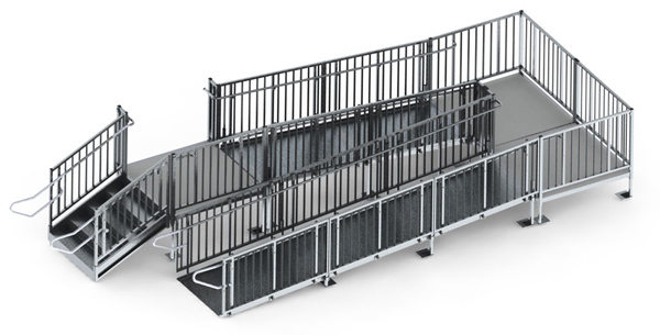 30 Turn Back Commercial Modular Ramp System With Steps