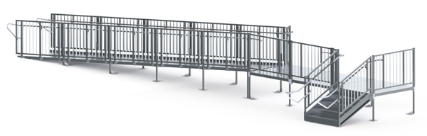 "30' Straight Commercial Modular Ramp System with 5' x 15' Landing & 30"" ADA/IBC Step System"