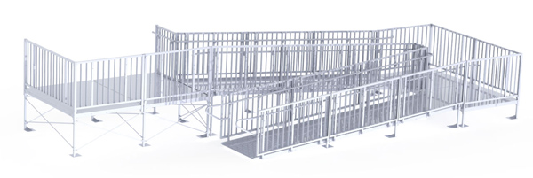 36' Turn Back Commercial Modular Ramp System with 7' x 10' Landing